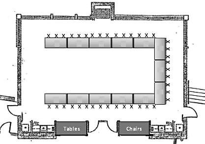 Event Map Rectangle Tables in U-Shape Seating 39 Guests