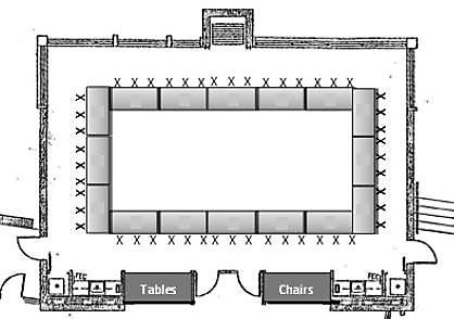 Event Map Rectangle Tables in Hollow Square Seating 48 Guests