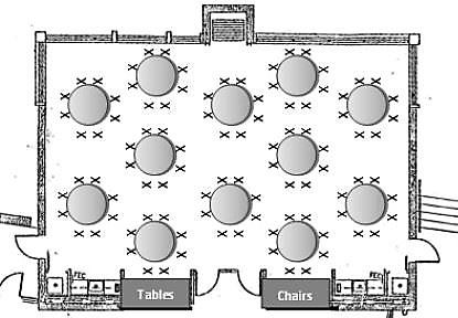 Event Map of Round Tables Seating 96 Guests