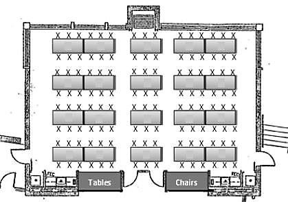 Event Map of Rectangular Tables Seating 120 Guests