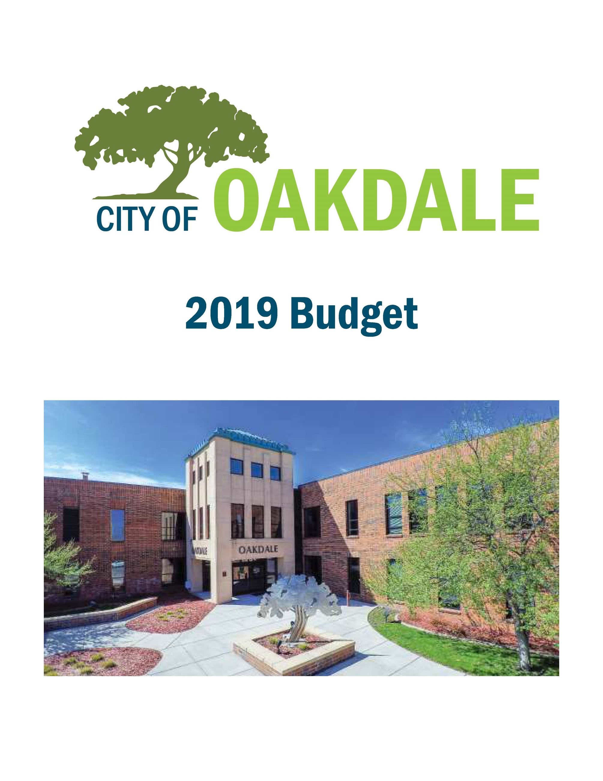 Cover of 2019 Budget showing main entrance to city hall