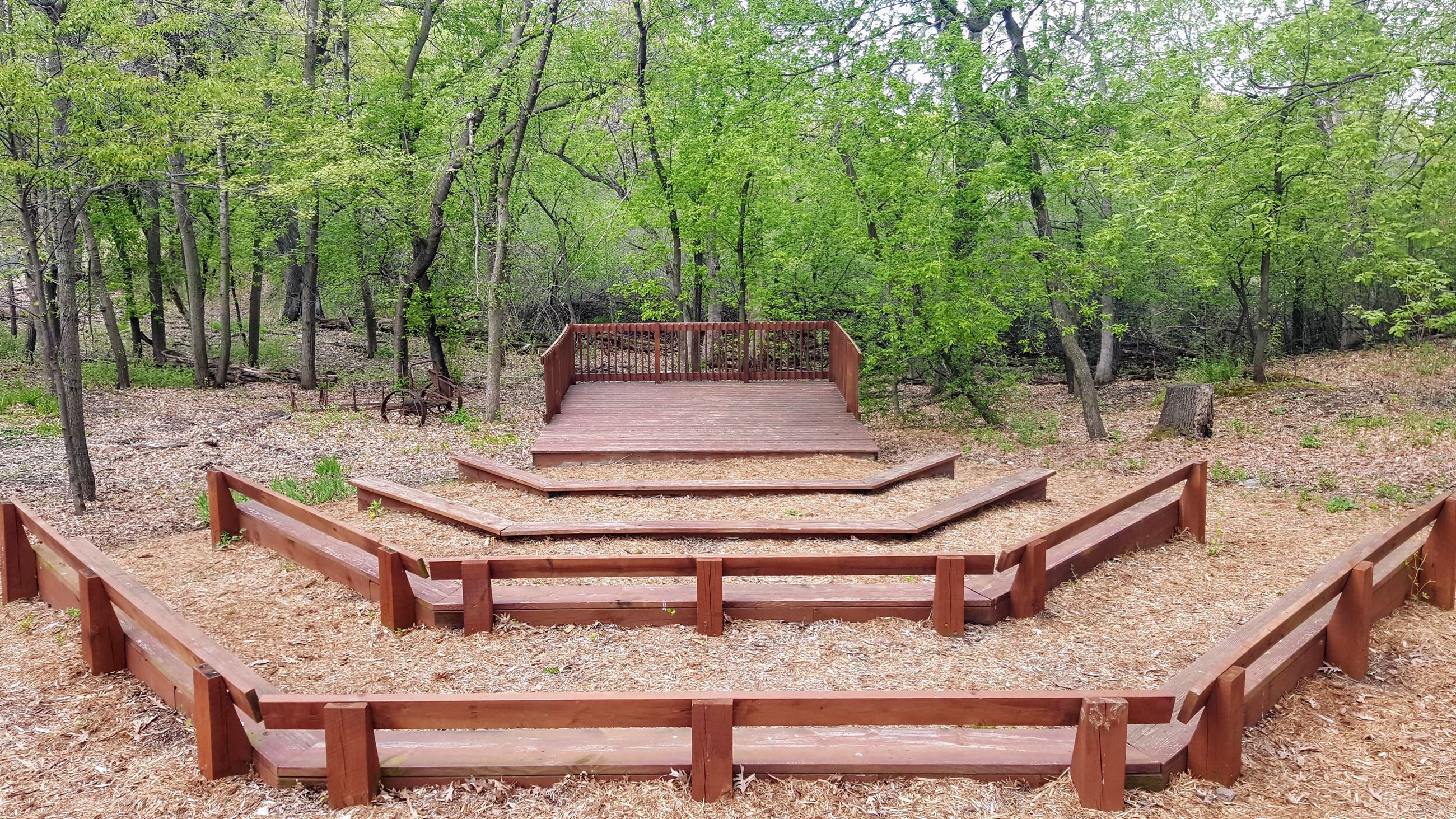 Outdoor Amphitheater with Wooden Benches